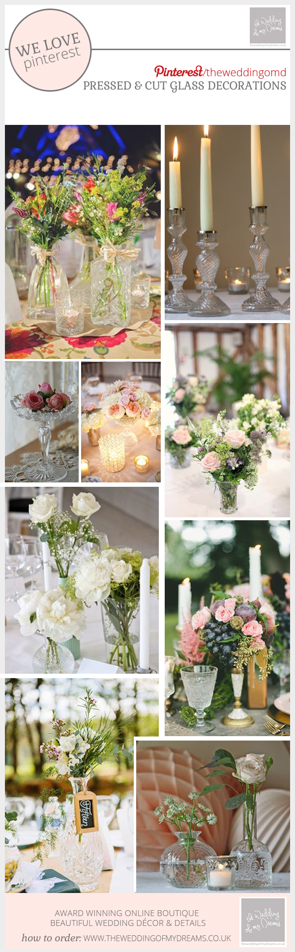 pressed cut glass wedding decorations