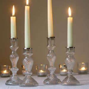 pressed glass wedding decorations  - candle sticks