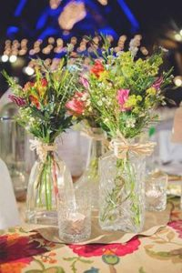 pressed glass wedding decorations  - decanters as vases