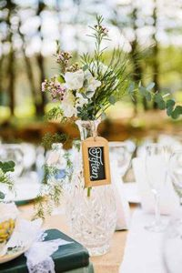 pressed glass wedding decorations   - decanters table number hodlers