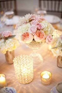 pressed glass wedding decorations   - tea light holders