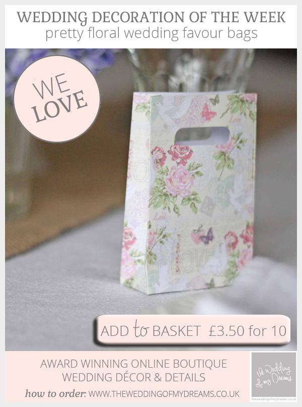 pretty floral wedding favour bags