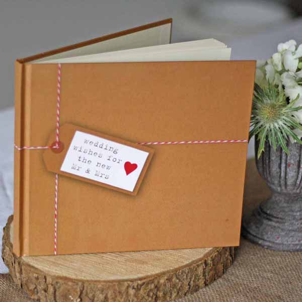 rustic style wedding guest book brown paper tied up with string