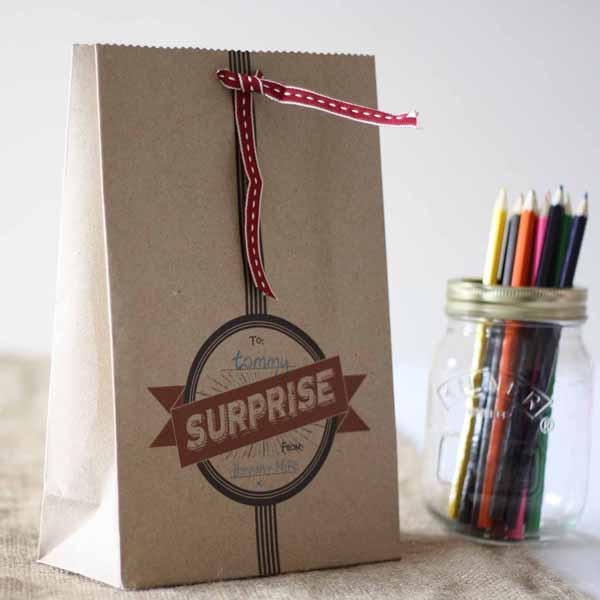 suprise paper gift bags for childrens wedding activities