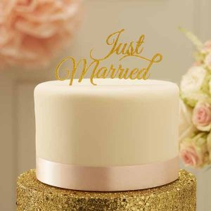 Gold glitter just married cake topper