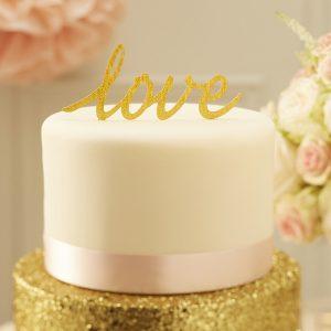 Gold glitter love wedding cake toper