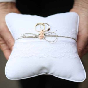 Lace and Twine wedding ring cushion for ring bearer
