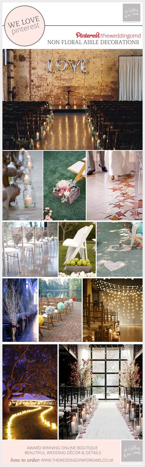 Non floral aisle decorations for wedding ceremonies