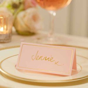 Pink and gold wedding place cards