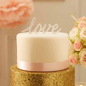 Silver glitter love wedding cake toper