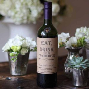 eat drink and be married stickers for wine bottles at weddings