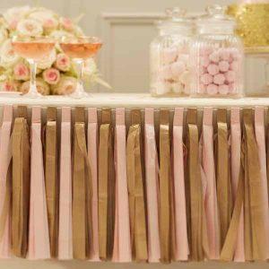 gold and pink tassel garlands