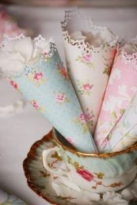 paper confetti cones  made from floral paper