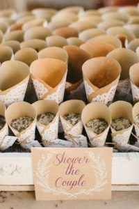 paper confetti cones  made from vintage paper tied with string