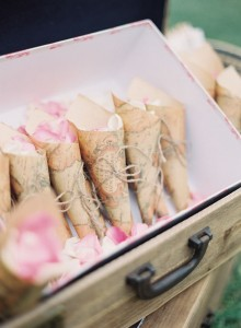 paper confetti cones tied with twine