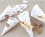 paper confetti cones made from a doily