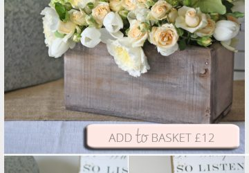 reclaimed wooden box centrepiece