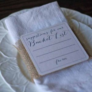 suggestions for our bucket list alternative wedding guest book