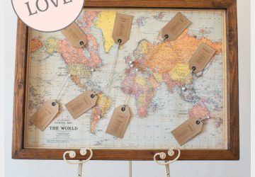 travel themed world map wedding table plan
