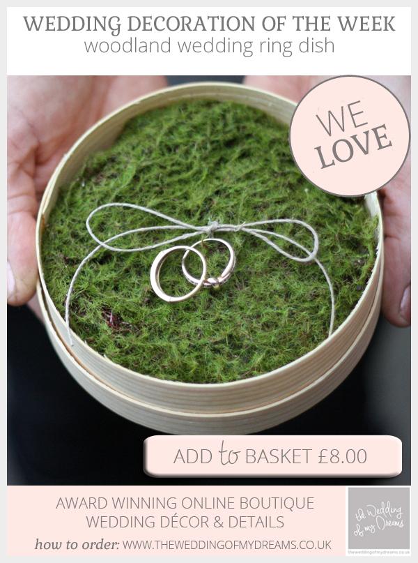 Woodland Wedding Ring Cushion Alternative With Moss