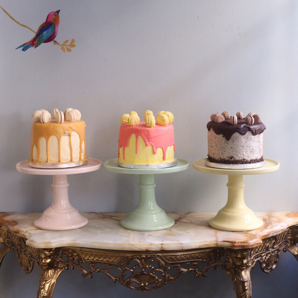 yellow and pastel pink mint green cake plates for wedding cakes