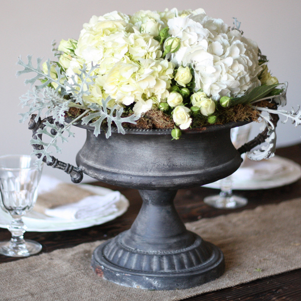 Large Grey Urn Wedding Centrepiece
