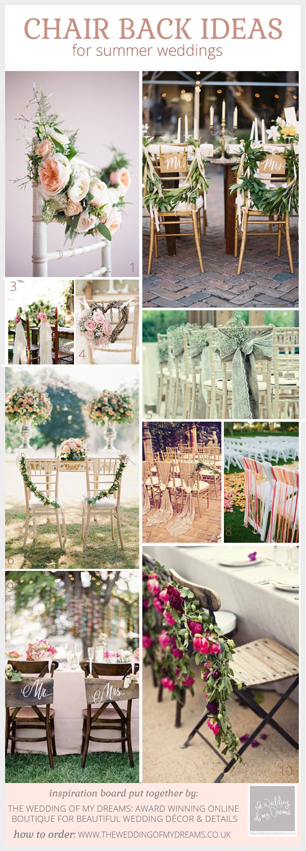 Pretty chair back ideas for summer weddings