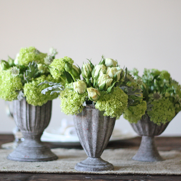 Small Grey Urn Wedding Centrepieces
