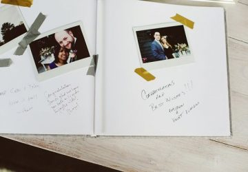 ask guests to take a polaroid photo and stick into wedding guest book next to their message