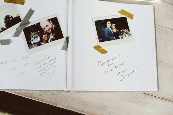 polaroid camera for photos in wedding guest book