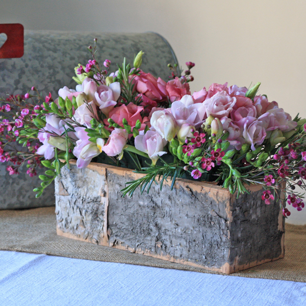 bark container long rustic wedding centrepieces