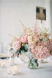 blue and blush pink wedding bouquet