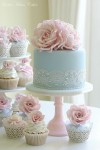 blue and blush pink wedding cake