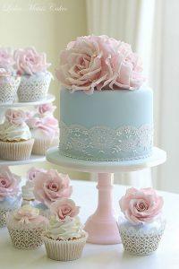 blue and blush pink wedding cake