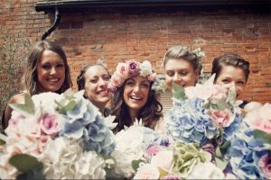 blue and blush pink wedding flowers