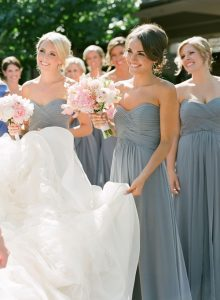 blue and blush pink wedding ideas - dusky blue bridesmaids dresses and pink bouquets