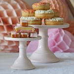 blush pink cake stands for wedding cakes