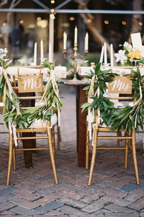 chair back ideas for summer weddings foliage garland with mr and mrs signs