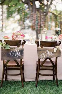 chair back ideas for summer weddings - mr and mrs wooden signs