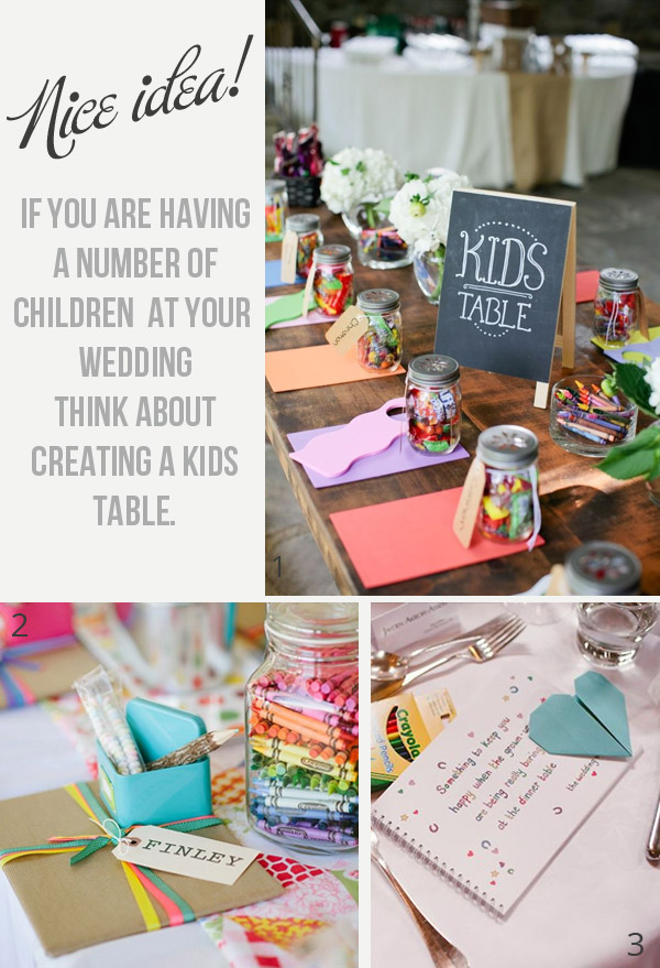 childrens table at wedding kids only