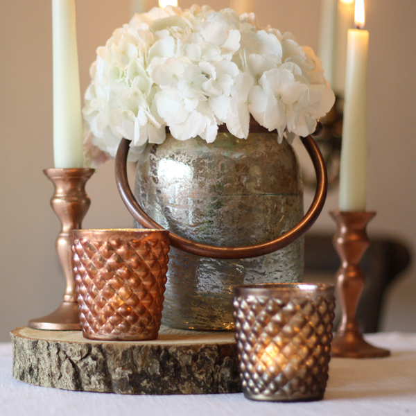 chunky bronze vase or lantern with handle  wedding centrepieces