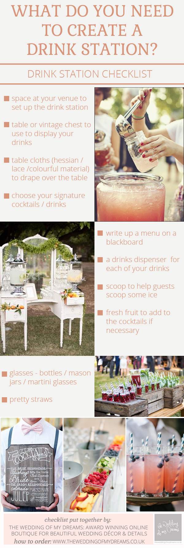 checklist for drink stations at weddings