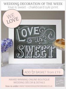 love is sweet chalkboard sign print