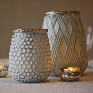luxe white and silver lantern or vase for wedding decorations