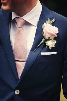 navy blue suit with pink tie for groom