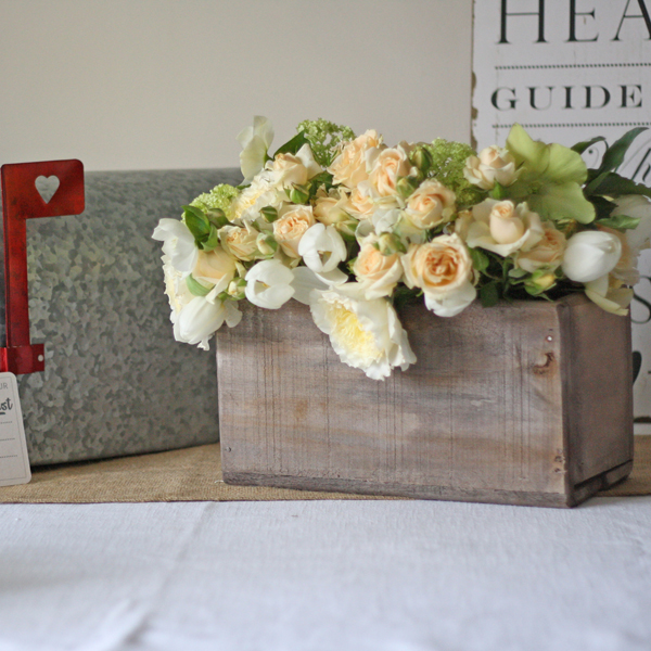 reclaimed wooden fish box wedding centrepieces