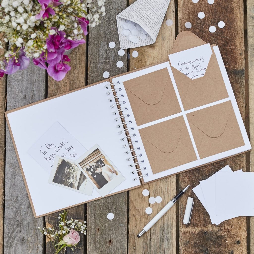 Polaroid photo guestbook: wedding guest book with envelopes for polaroid photos