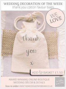 thank you cotton wedding favour bags