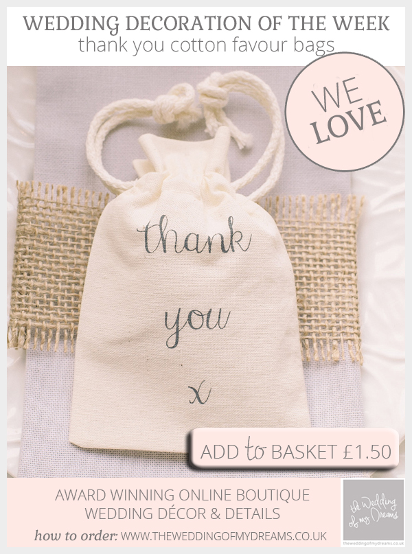thank you cotton wedding favour bags