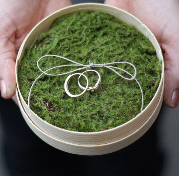 the perfect woodland wedding ring cushion alternative -  wooden dish with moss